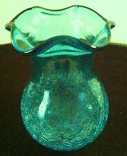 Green Crackle Glass Vase with Scalloped Edge Pontil Mark