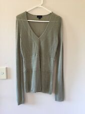 Womens Witchery Viscose Blend Long Sleeve Mesh Top Khaki Green Size L