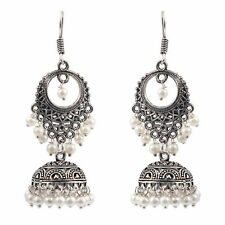 Traditional Silver Plated Oxidized jhumka jhumki White pearls Earrings