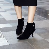 Ladies Shoes Bowknot Pointed Toe Chelsea Ankle Boots Winter Kitten Heel Court