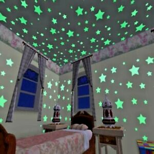 50pcs 3D Stars Glow  Luminous Fluorescent Wall Stickers for kids room home deco
