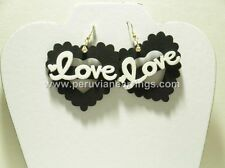 Wholesale of 10 pairs Assorted colors wood earrings Heart #448