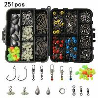 251pcs Fishing Sinkers Hooks Swivels Snaps Beads Accessories Kit Tackle Box Set