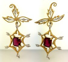 22K Yellow Gold and 900 PT Cathy Waterman Earrings with Garnet and Diamonds WOW!