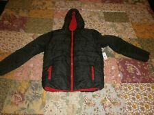 Big Boys Size Xl (18-20) Nwt Solid Black/ Red Trim Winter Jacket By Roebuck & Co