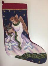 "Vintage 16"" Needlepoint Stocking Angel Playing The Harp"