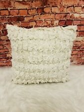 "Lucky Brand Shaggy 18"" Square Decorative Pillow, White Beige Cotton"