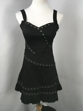 LIVING DEAD SOULS Black Strap Dress Metal Ring Gothic PinUp  A-Line NWT Sz S