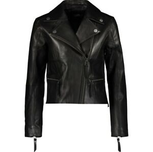 KARL LAGERFELD Designer Black Leather Biker Jacket