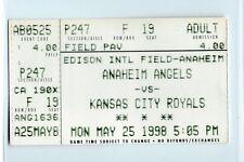 Garret Anderson grand slam ticket stub; Royals at Angels 5/25/1998