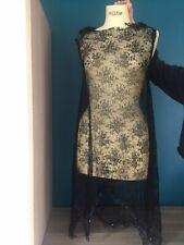 Dessus de Robe en Dentelle Noire et Ourlet de Perles Collection Costume Ancien