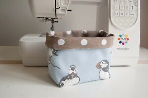 Small Handmade Fabric Storage Pot  - Puffins (Duck Egg Blue)
