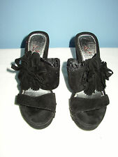 Kayleen by Los Angeles Flower 1 Black Wedge Women's Shoes - Size 5 1/2