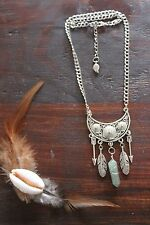 Beautiful Handmade Silver Double Chain&Green Aventurine Feather Pendant Necklace