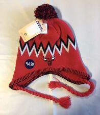 Chicago Bulls Knit Beanie Toque Skull Cap Winter Hat NEW NBA Logo Ear braids
