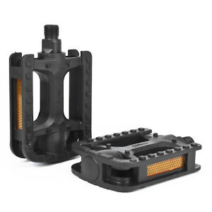 """Black Bicycle Pedals Standard Square 9/16"""" Strong Plastic Reflective Bike Pedal"""