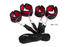 Cozy Under Bed Bondage Soft Furry Restraint kit Adjustable Straps black B140