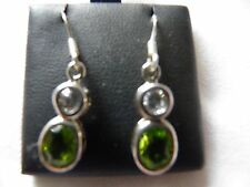 925 silver clear quartz and Peridot faceted stone oval  Earrings (08)