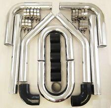 Universal 2 inch 51mm Turbo Intercooler Aluminum Pipe Silicone Hose Kit Black