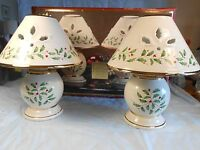 Christmas Holiday by Lenox Tea Light Lamps set Of 2 Holly & Berry in Box Lenox