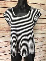 Hang Ten Size M Gray Stripe Zip Back Knit Top Hi Low Lightweight Short Sleeve