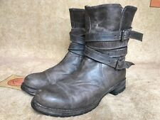 Women's Sendra Gray Leather Ankle Biker Boots Size US 8