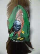 PIGEON, ARCHANGEL-Hand painted rare turkey feather, by artist W. W. Hoffert