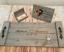 Wedding SIGNATURE GUEST BOOK Alternative-Ring Box-Reception Sign Rustic Tray Set