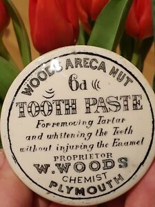 Vintage Victorian Pot Lid Woods Area Nut Tooth Paste Chemist Plymouth Antique