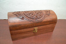 HAND CARVED ROSEWOOD WOOD CHEST JEWELRY TRINKET BOX #F-180B