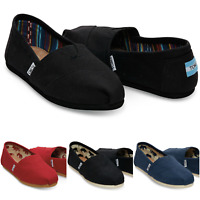 TOMS Women's Classic Canvas Slip On Flats Shoes US Sizes Black Red Navy