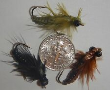 (12) WIGGLE BUG!! Jointed Dragonfly Nymphs in 3 colors! SIZE 8