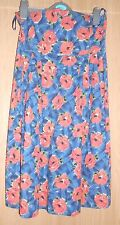 River Island Navy Blue & Red Floral Print Sequin Strapless Fitted Dress size 8