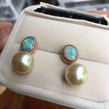 18K Rose Gold Top Luster 12.4mm Gold Seawater Pearl Solid Opal Elegant Earring