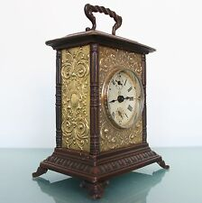 JUNGHANS Mantel Alarm TOP Clock RARE MODEL Antique Germany Carriage Brass Chrome