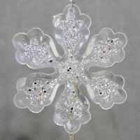 "Christmas Ornament Lucite Simulated Crystal Drop SNOWFLAKE 7"" RANA'S USA SELLER"