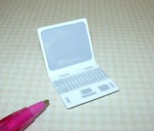 Miniature WHITE Metal Laptop Computer w/Painted Screen and Keys: DOLLHOUSE 1:12