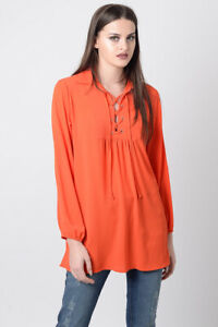 Womens Top Ladies Long sleeve Lace-up Front Orange Casual Tunic