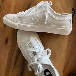 Mens White Diesel Shoes/sneakers, - Leather Upper, Size US 8.5, EUR 41 Near New