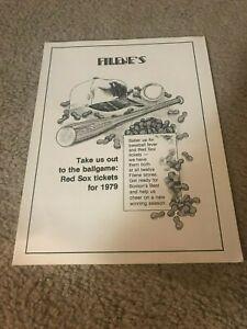 "Vintage 1979 BOSTON RED SOX FILENE'S STORES Promo Print Ad 1970s ""GO SOX!"""