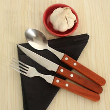 3pcs Wood Handle Knife Fork Spoon Stainless Steel Cutlery Dining Gift Choose