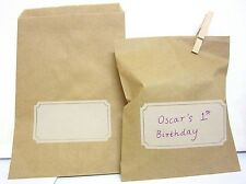 30PK RETRO KRAFT PAPER BAGS  BROWN BAG CRAFT CANDY LOLLY BUFFET FREE POSTAGE