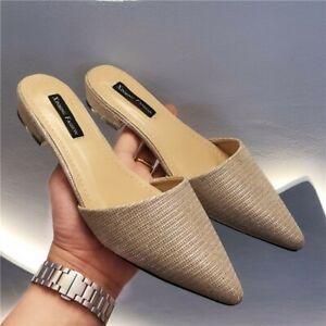 Women Pointy Toe Mules Slipper Flat Heel Sandal Backless Slip-on Loafer Shoes B