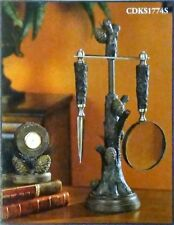 "Pinecone Desk Set with Clock, Vintage Verandah, Lodge or Cabin Décor, 16"" High"
