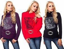 Women's Long Sleeve Polo Neck No Pattern Jumpers & Cardigans