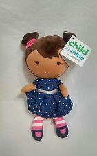 Child of Mine Brown Doll Rattle Brunette Hair Polka Dot Blue Dress Carters NWT