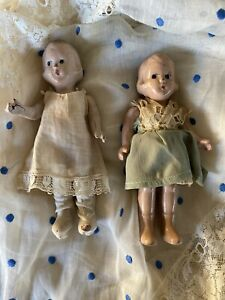 """6"""" Vintage Composition Twin Dolls Sisters Molded Hair Painted Antique Dresses"""