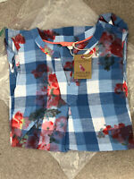 NEW JOULES JILL BLUE FLORAL TUNIC TOP SIZE 12 Long Sleeveless Rrp £59.95