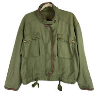 Free People Women's Flight Line Bomber Jacket Green Full Zip Pockets Size Small