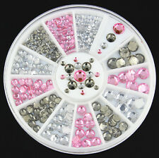 Fashion Acrylic Nail Art Decoration 4 Sizes Gray White Pink Glitter Rhinestone E